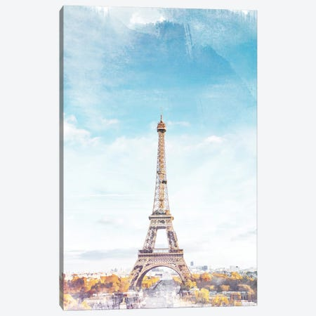 I Love Paris Travel Poster Canvas Print #NRY68} by Natalie Ryan Canvas Print