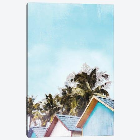 Jamaica Beach Hut Travel Poster Canvas Print #NRY72} by Natalie Ryan Canvas Artwork
