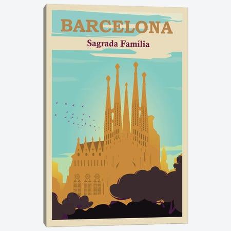 Barcelona Sagrada Familia Travel Poster Canvas Print #NRY73} by Natalie Ryan Canvas Art