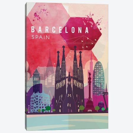 Barcelona Travel Poster Canvas Print #NRY74} by Natalie Ryan Canvas Art Print
