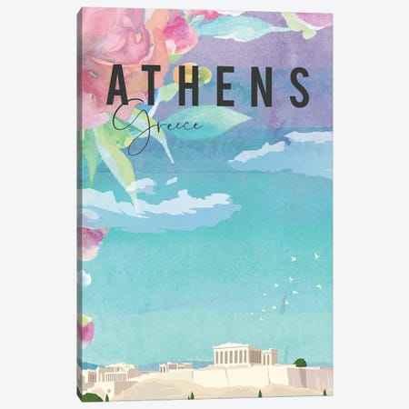 Thens Travel Poster Canvas Print #NRY75} by Natalie Ryan Art Print
