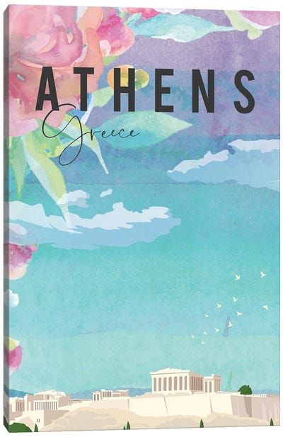 Thens Travel Poster Canvas Art Print