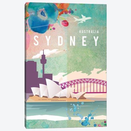Sydney Travel Poster Canvas Print #NRY7} by Natalie Ryan Art Print