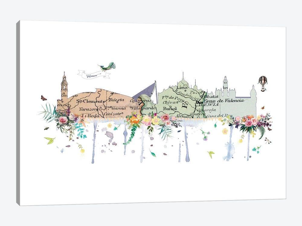 Valencia Collage Skyline by Natalie Ryan 1-piece Canvas Print