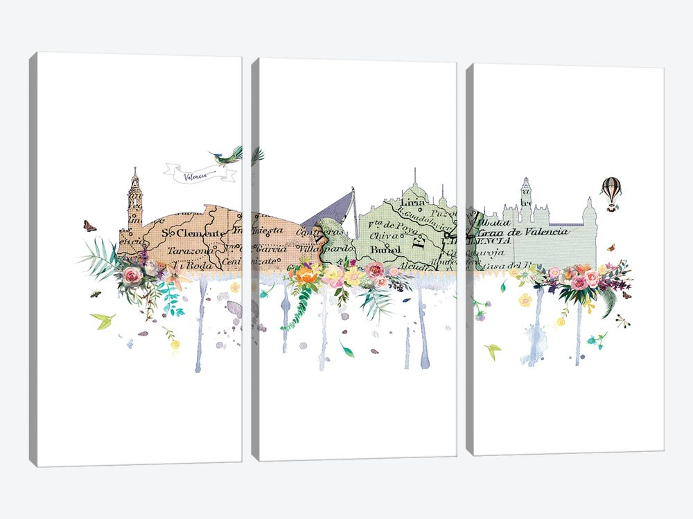 Valencia Collage Skyline by Natalie Ryan 3-piece Canvas Art Print