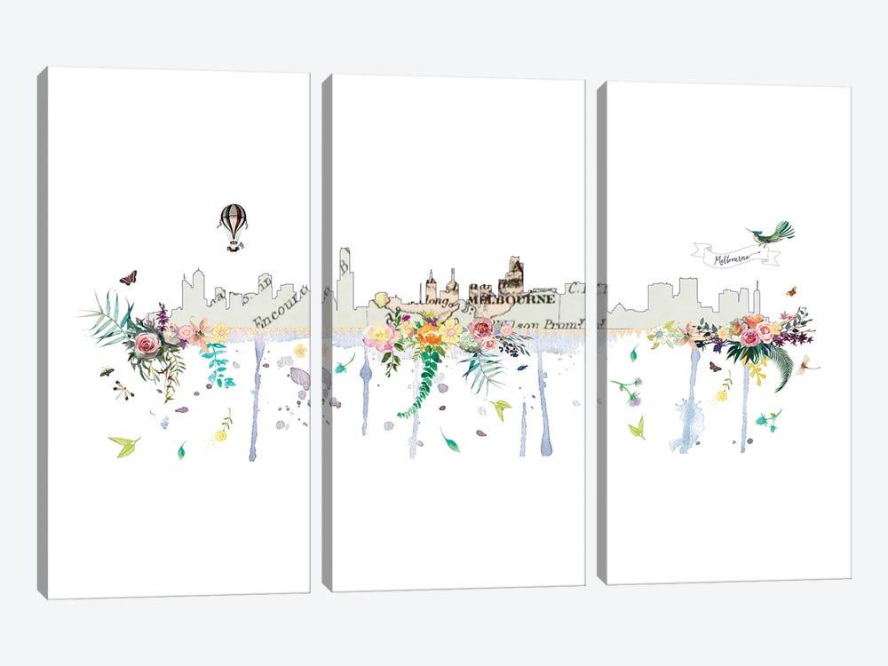 Melbourne Collage Skyline by Natalie Ryan 3-piece Canvas Art