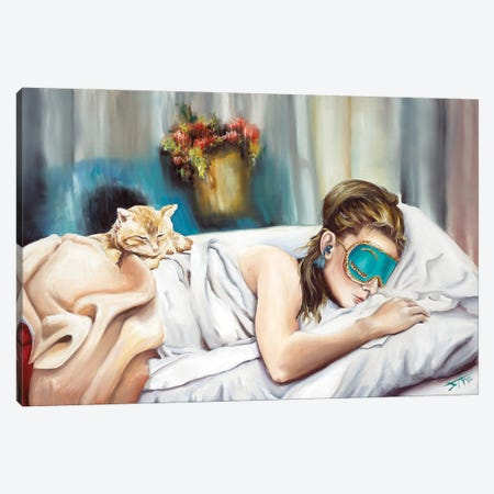 Holly And Cat Canvas Print #NSD16} by Salma Nasreldin Canvas Art Print