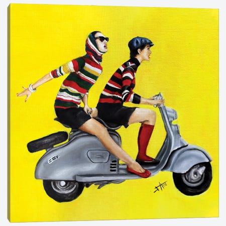 Vespa Girls Canvas Print #NSD21} by Salma Nasreldin Canvas Art Print