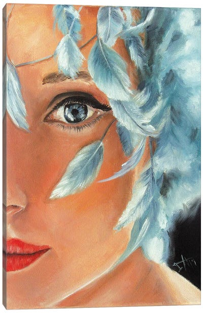 Blue Feather Canvas Art Print