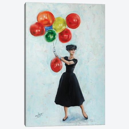 Audrey With Balloons II Canvas Print #NSD67} by Salma Nasreldin Canvas Art