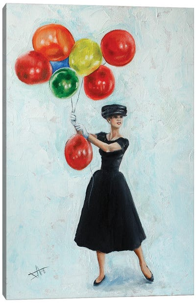 Audrey With Balloons II Canvas Art Print