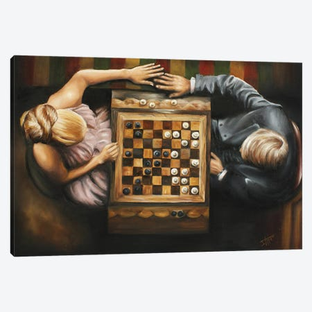 Game for two -Chess lovers 3 Canvas Print #NSD78} by Salma Nasreldin Canvas Wall Art