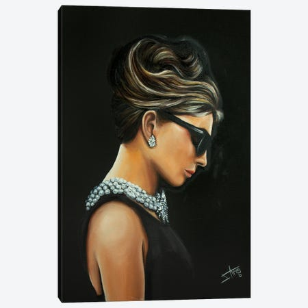 Audrey In Black Canvas Print #NSD8} by Salma Nasreldin Canvas Art Print