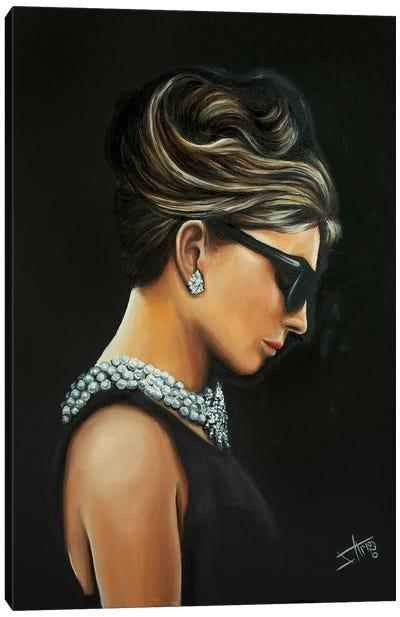 Audrey In Black Canvas Art Print