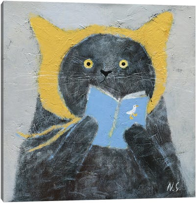 Cat In Yellow Hat With A Book Canvas Art Print