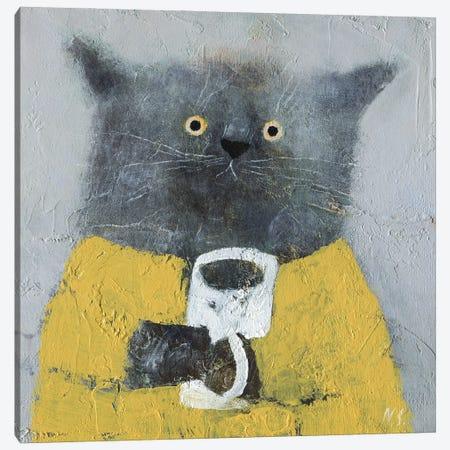 Grey Cat Yellow Dress Canvas Print #NSL13} by Natalia Shaloshvili Canvas Artwork