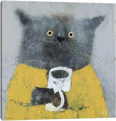Grey Cat Yellow Dress Canvas Art Print