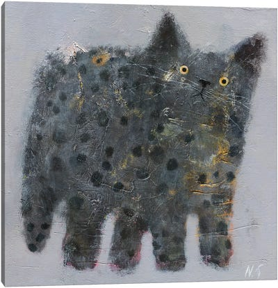 Grey Fluffy Cat Canvas Art Print