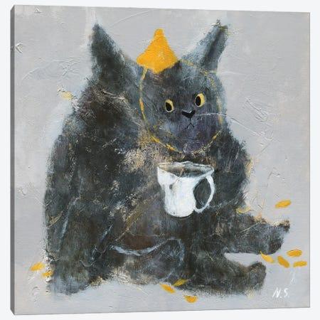 Grumpy Cat With Cup Of Tea Canvas Print #NSL15} by Natalia Shaloshvili Art Print