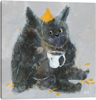 Grumpy Cat With Cup Of Tea Canvas Art Print