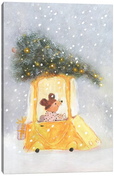 Little Mouse Carrying Chrictmas Tree On The Top Of The Car Canvas Art Print