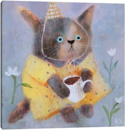 Morning Cat In Yellow Dress Canvas Art Print