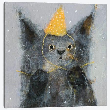 Sad Cat In Party Hat Canvas Print #NSL19} by Natalia Shaloshvili Canvas Wall Art