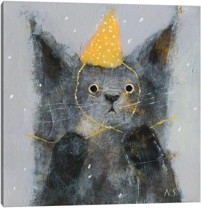 Sad Cat In Party Hat Canvas Art Print