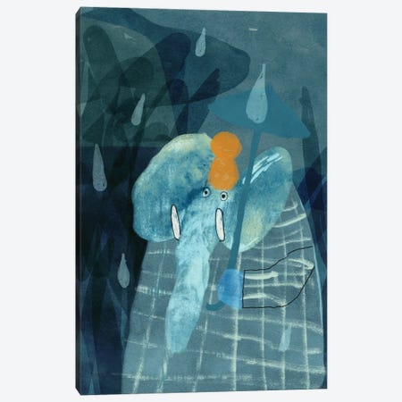 An Elephant Under The Umbrella Canvas Print #NSL1} by Natalia Shaloshvili Canvas Print