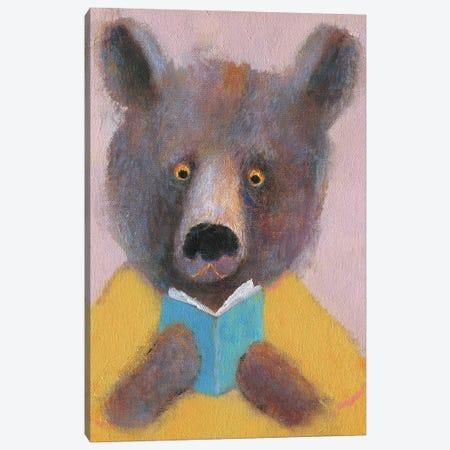 The Bear Reading The Book Canvas Print #NSL21} by Natalia Shaloshvili Art Print