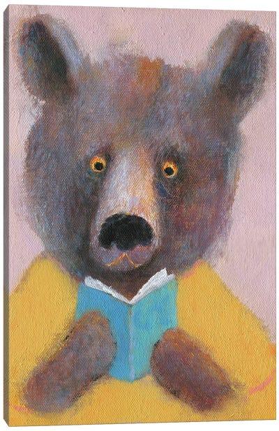The Bear Reading The Book Canvas Art Print