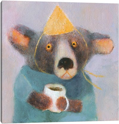 The Bear With Cup Of Coffee Canvas Art Print