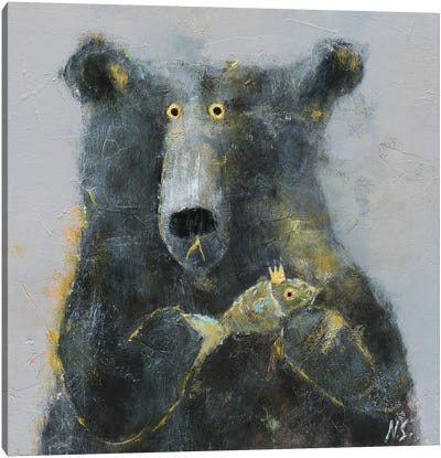 The Bear With Fish Canvas Art Print