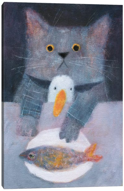 The Cat And The Duck Having The Dinner Canvas Art Print