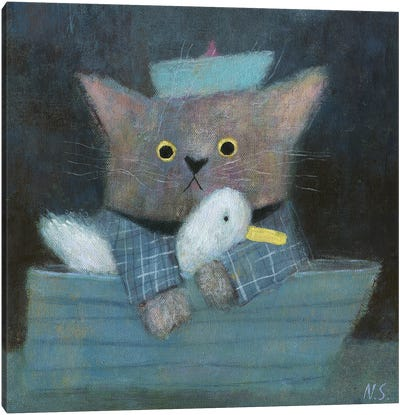 The Cat And The Duck In The Boat Canvas Art Print