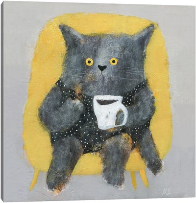The Cat In The Chair Wit Cup Of Coffee Canvas Art Print
