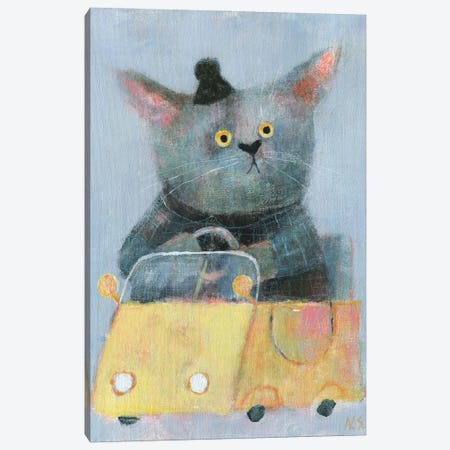 The Cat In The Yellow Car Canvas Print #NSL28} by Natalia Shaloshvili Canvas Print