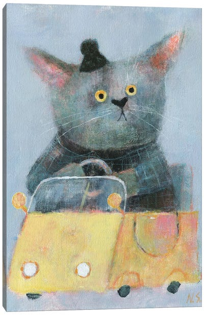 The Cat In The Yellow Car Canvas Art Print