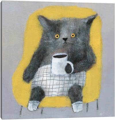 The Cat In The Yellow Chair Canvas Art Print