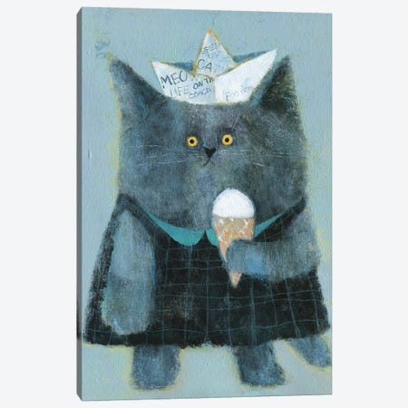 The Cat With Paper Hat And Icecream Canvas Print #NSL31} by Natalia Shaloshvili Canvas Wall Art