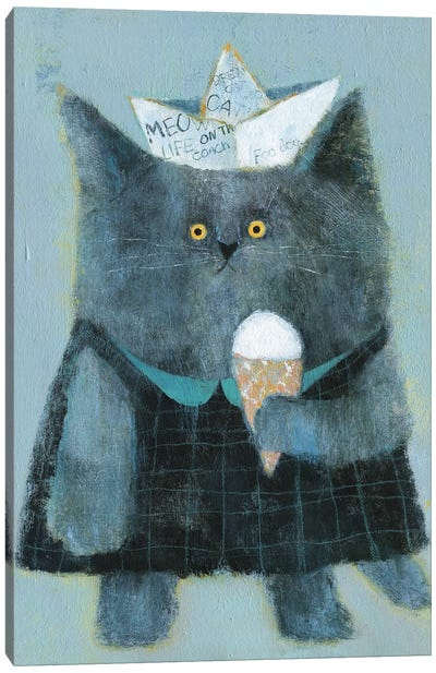 The Cat With Paper Hat And Icecream Canvas Art Print