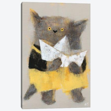 The Cat With Paper Ship Canvas Print #NSL32} by Natalia Shaloshvili Canvas Artwork