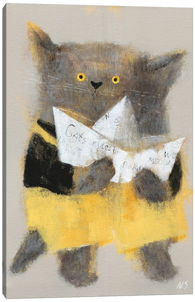 The Cat With Paper Ship Canvas Art Print