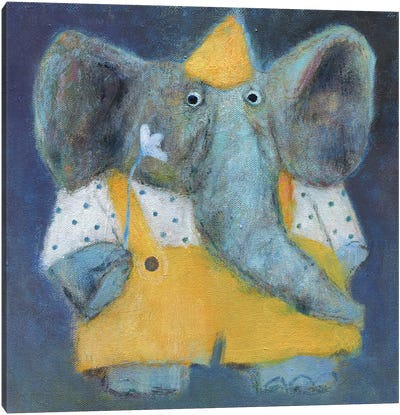 The Elephant In The Party Hat Canvas Art Print