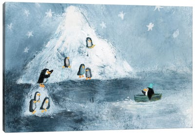 The Family Of Penguins Canvas Art Print