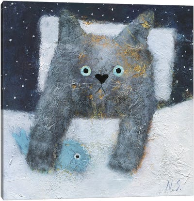 The Night Cat Canvas Art Print