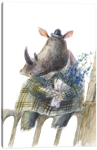 The Rhino With The Flowers Canvas Art Print
