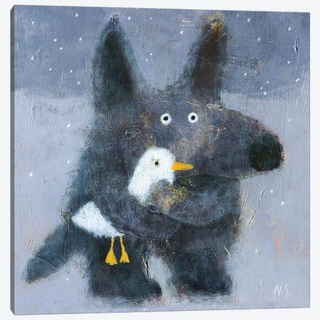 The Wolf Hugs The Duck Canvas Print #NSL38} by Natalia Shaloshvili Canvas Wall Art
