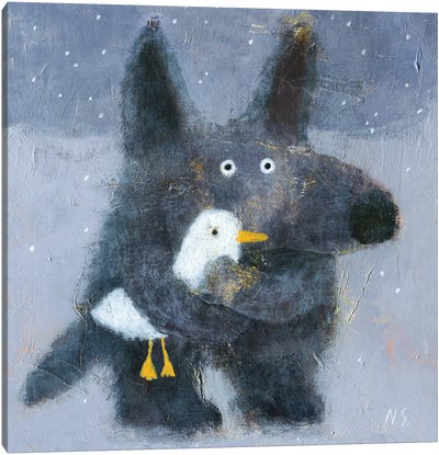 The Wolf Hugs The Duck Canvas Art Print
