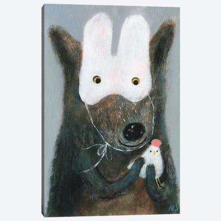 The Wolf In White Mask Holding The Hen Canvas Print #NSL39} by Natalia Shaloshvili Canvas Art